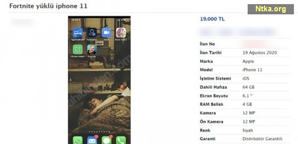 iPhone 11 fortnite yüklü