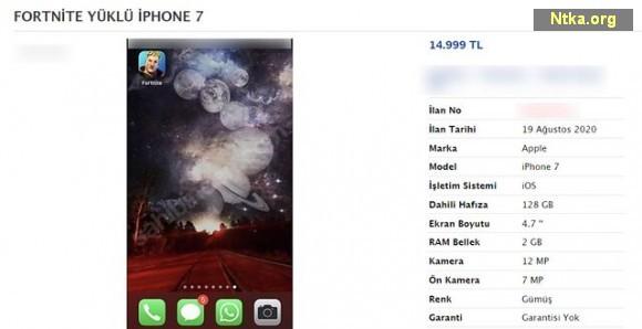 Fortnite yüklü iPhone 7
