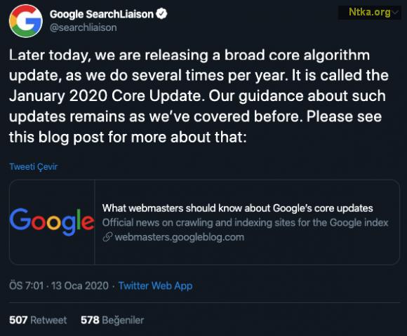 Ocak 2020 Google Algoritma Güncellemesi Duyuruldu
