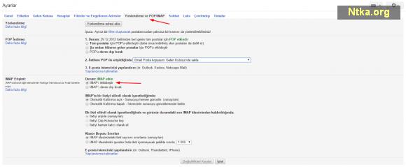 Google Yönlendirme ve POP/IMAP Ayarları