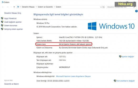 windows 10 64-bit türkçe